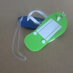 Slipper vormige bagagelabel van zacht PVC 112 x 48mm met uw logo image